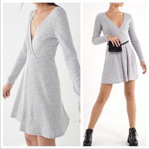 UO Cozy V-Neck Wrap Soft Knit Swing Dress